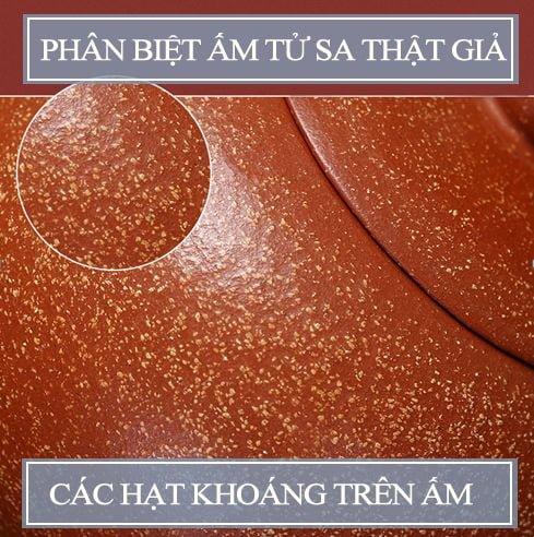 Các hạt nguyên khoáng trên ấm tử sa chuẩn của Nghi Hưng.