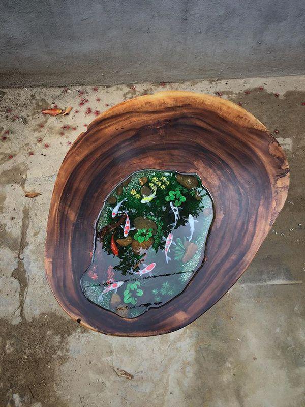 Mặt bàn Epoxy resin kèm hồ cá đẹp rất tinh tế